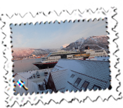 The terrific view of the Hurtigruten, Arctic Cathedral and Tromso from my room in the Radisson Blu Tromso.