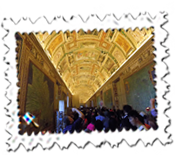 One of the impressive corridors within the Vatican Museums