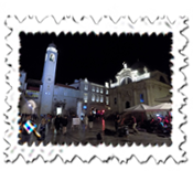 Dubrovnik's main street at night with musical accompaniment