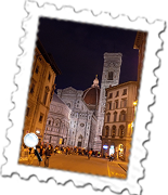 The remarkable Duomo and Giotto's bell tower in Florence at night.