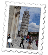 Whoops. Missed... A tourist's efforts to right Pisa's Leaning Tower fails.