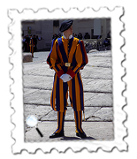 A Swiss Guard on duty at the Papal General Audience.