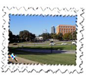 The JFK assassination area showing the former Book Depository to the right