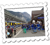 A band plays at Lauterbrunnen Railway Station after the Jungfrau Marathon