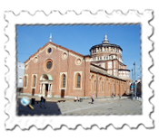 The refectory to the left of the Basilica Santa Maria Delle Grazie houses da Vinci's The Last Supper
