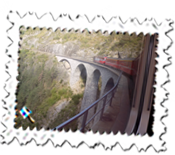 Our train travels over the Landwasser Viaduct